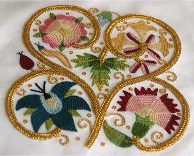 Finished Elizabethan Embroidery  White Threads