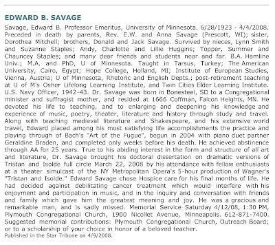 Edward B. Savage Obituary