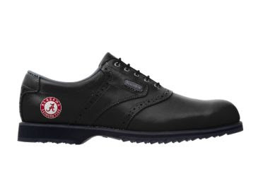 Black patent leather University of Alabama golf shoe that is the Footjoy brand and has a logo on the back portion.