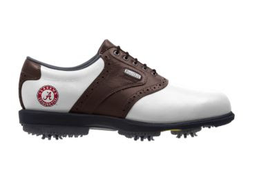 Brown and white Roll Tide golf shoe with red University of Alabama logo on the right shoe and Footjoy brand near the shoelaces.