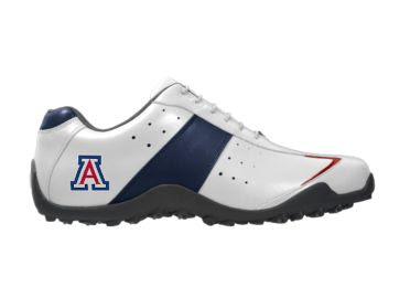 Sporty looking U of A golf shoe that looks like a running shoe and is white with blue trim and a red accent.