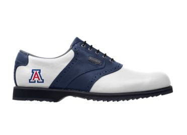 Blue and white University of Arizona Footjoy golf shoe with a black sole and black shoe laces.