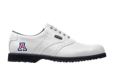 White Arizona Wildcats golf shoe with an A letter logo near the heel that is blue and red.