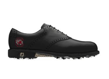 Black South Carolina golf shoe with a red college logo in an athletic design on this men's size 9 Footjoy product.
