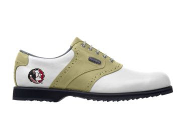 Seminoles golf shoe for men with round Indian logo on the heel of this Footjoy piece of golf equipment with rubber cleats.