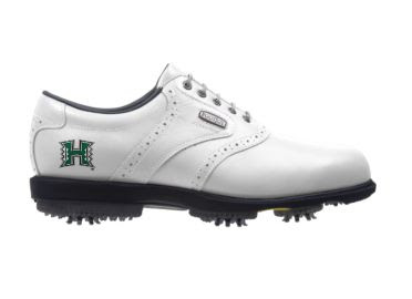 Hawaii Rainbows golf shoe for men size 10 with large plastic cleats on standard design with green school logo.