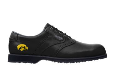 Black Iowa golf shoe with gold logo near the arch of this men's size 11 golf footwear with small school logo on traditional design.