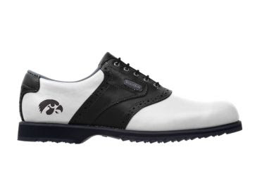 Iowa golf shoe for ladies size 8 that is traditional design with black trim on white Footjoy shoe with school logo on the heel.