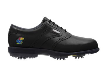 Black Kansas golf shoe with red, blue, and yellow Jayhawk logo on the heel of this Footjoy made product with black tongue and shoelaces.
