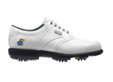 White Jayhawks golf shoe with KU logo on this men's size 11 shoe made by Footjoy with white laces and ornamental designs.