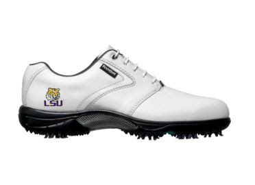 White LSU Tigers golf shoe that has athletic look for men in size 10 with gray and black cleats on the bottom and school logo on the side.