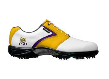 Purple and gold LSU golf shoe with purple trim and Louisiana State logo near the arch support on men's size 11 footwear by FJ.