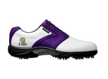 Purple LSU golf shoe that is white with purple trim on classic design for ladies size 9 with Tigers logo reading LSU near the heel of this Footjoy product.