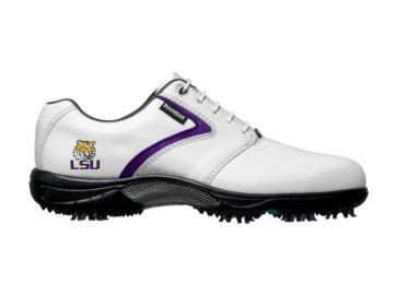 Louisiana State Tigers golf shoes with college logo on the side of women's size 8 shoe that is white with purple accent and yellow logo and white laces.
