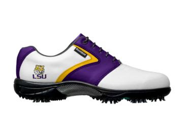 Louisiana State University golf shoe that is white with purple and gold trim and school logo that is small on the back of ladies size 7 footwear with large black cleats on bottom and black laces.