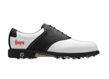 Huskers golf shoe with logo school emblem and black on white exterior design in traditional style for women's footwear.
