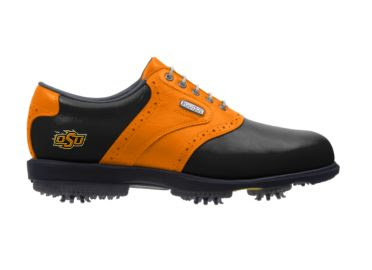 Orange Oklahoma State golf shoe with small Cowboys logo and orange stripe on black exterior with plastic cleats.