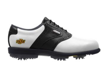 Oklahoma State golf shoe with OSU logo near the arch support by the ankle area with black and white traditional style.