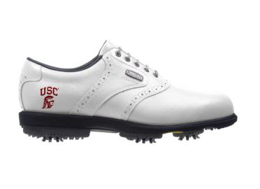 Southern California golf shoe that is white with red logo on the back of this traditional Footjoy design with a black rubber sole.