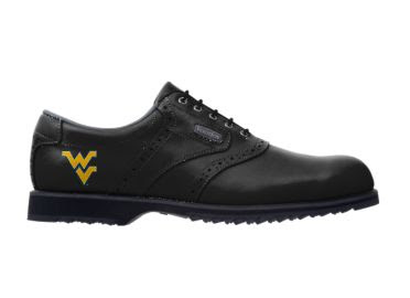 West Virginia golf shoe that is entirely black with a yellow school logo on the side and black shoelaces, tongue, and rubber sole.
