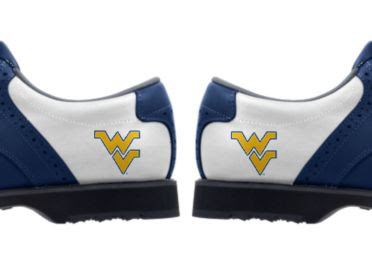 West Virginia University golf shoes with WV logos in gold on white backgrounds with blue trim in Adidas style men's size 10.