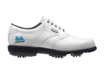UCLA Bruins golf shoe that is a white Footjoy product with soft rubber spikes and classic design.