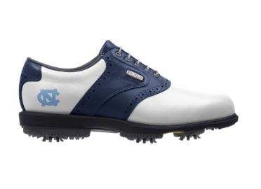 UNC Heels golf she that is dark blue and white with a Tar Heels blue college logo on the back above soft indoor safe cleats and gray shoelaces.