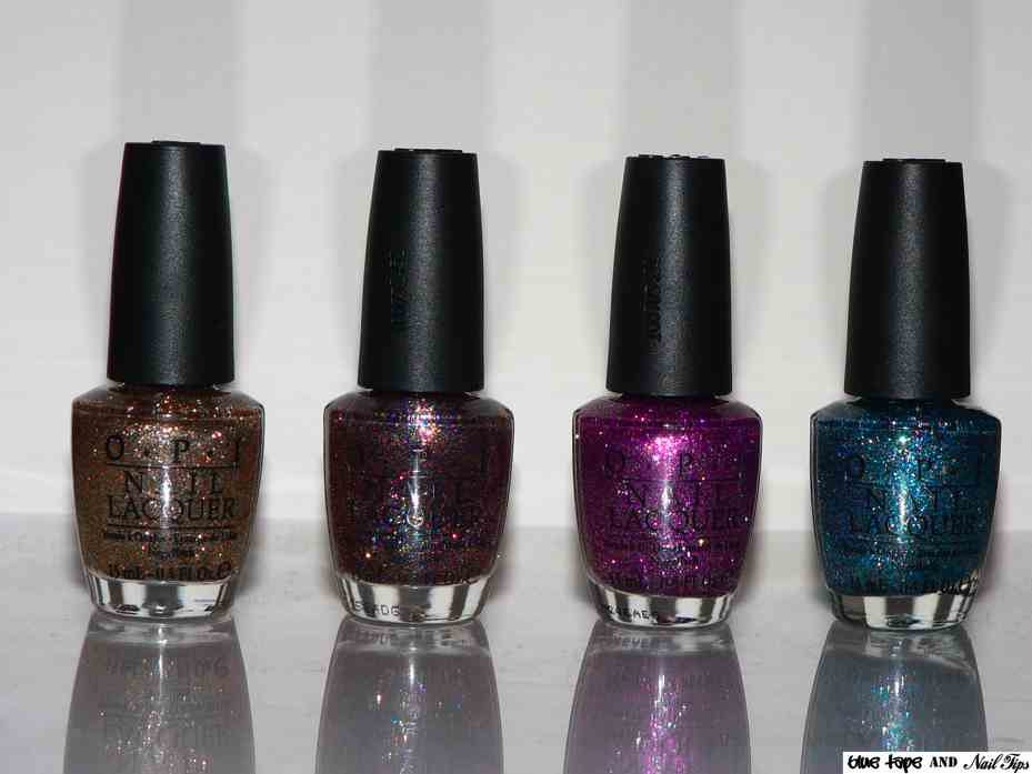 blue tape and nail tips opi burlesque glitter swatches