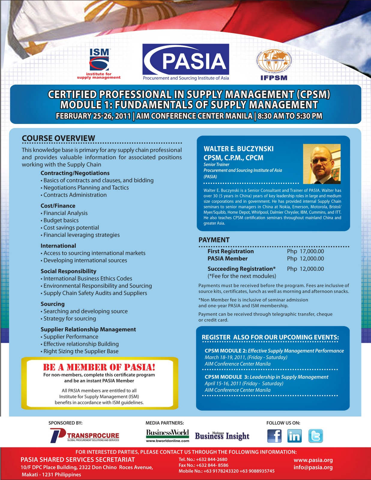 Procurement And Sourcing Institute Of Asia Certified Professional