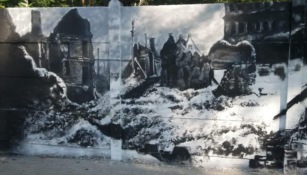 Patriotyczny mural - ruiny
