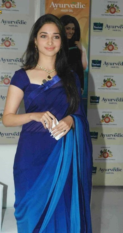 Tamanna Gorgeous In Blue Saree