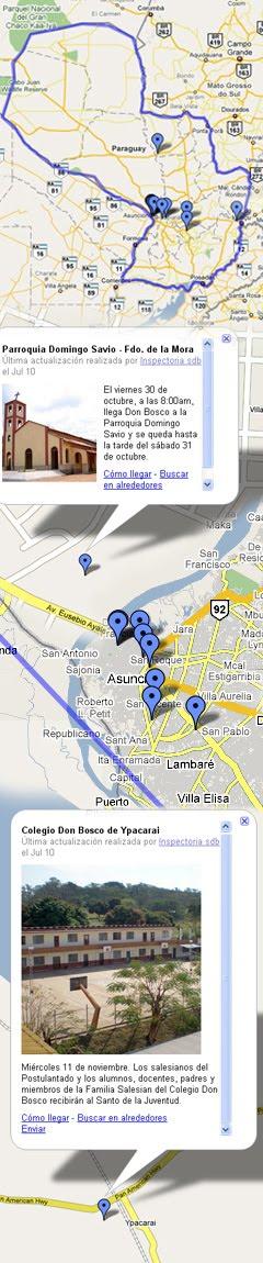 El recorrido de Don Bosco en el mapa del Paraguay