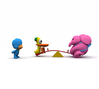 Elly Pocoyo and Duck looks as swinging on the swing  Images pocoyo