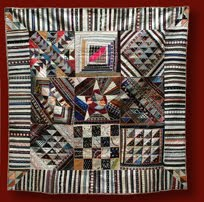 crazy quilt with striped border