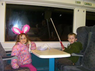 silly ears and light sabres on the train