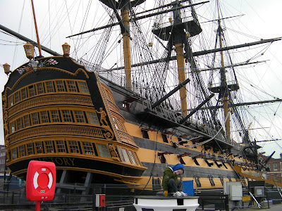 flagship HMS Victory in Portsmouth showing rigging