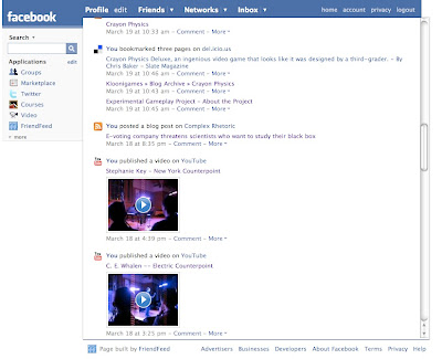 screenshot of FriendFeed app in Facebook