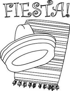 Fiesta coloring book page - sombrero and serape poster