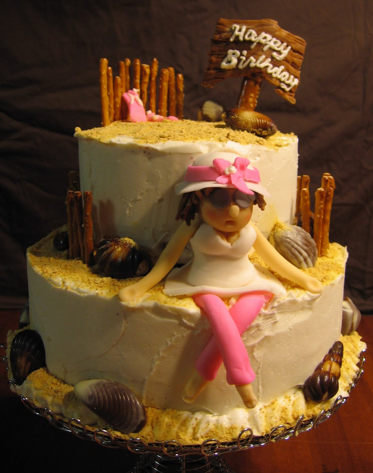 Sues Sweet Creations Beach Theme Birthday Cake