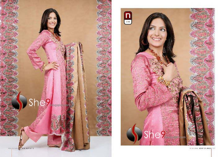 Nisha Linen Designs of winter season 2010-2011 also has some fancy