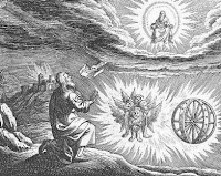 An old print depicting the Ezekiel's enigmatic wheels.