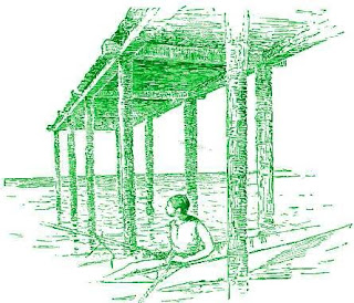 An illustration from the book: The Essentials of Perspective showing the vanishing point at eye level.