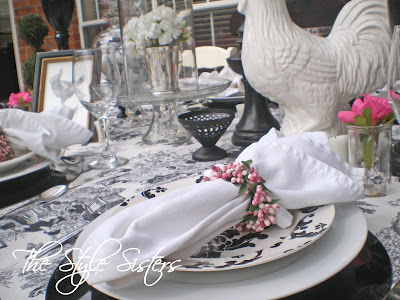 French Tablescape, black and white table setting