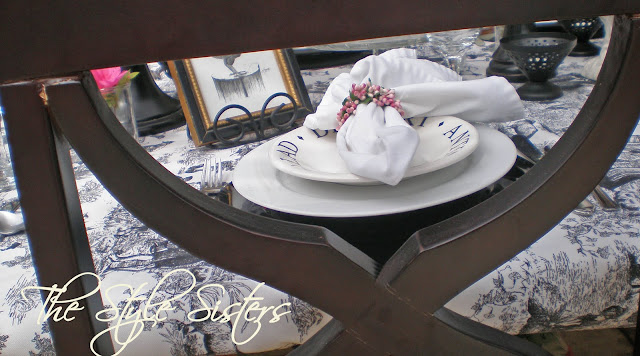 Black and white Toile Tablescape, The Style Sisters, Valentine Tablescape