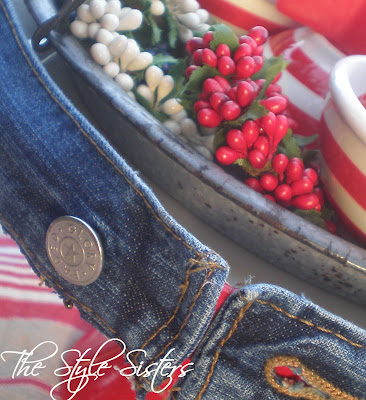 Denim Tablescape, red white and blue tablescape, Memorial Day Table decor, 4th of July table decor,  Red white and Blue