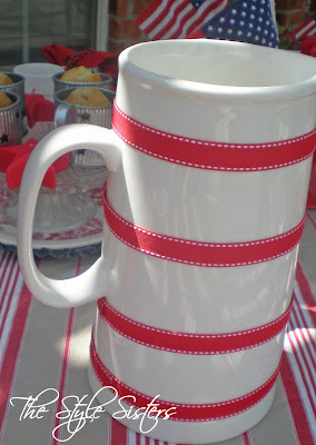 Add ribbon to White water pitcher, red white and blue tablescape, Memorial Day Table decor, 4th of July table decor,  Red white and Blue
