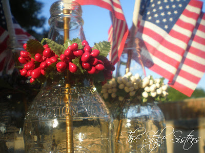 Root Beer bottles, red white and blue tablescape, Memorial Day Table decor, 4th of July table decor,  Red white and Blue