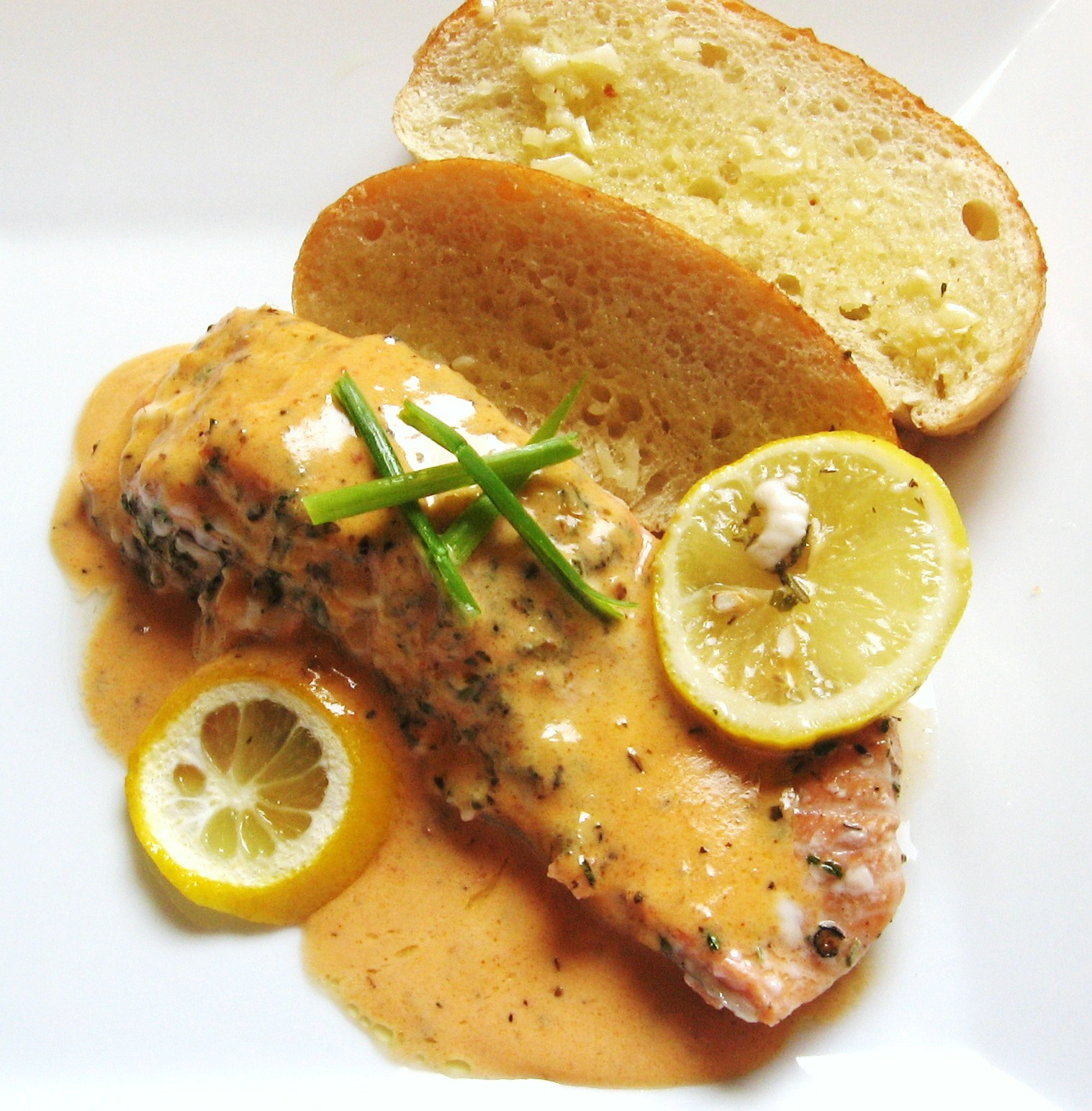 Roasted Salmon With White-Wine Sauce Recipe — Dishmaps
