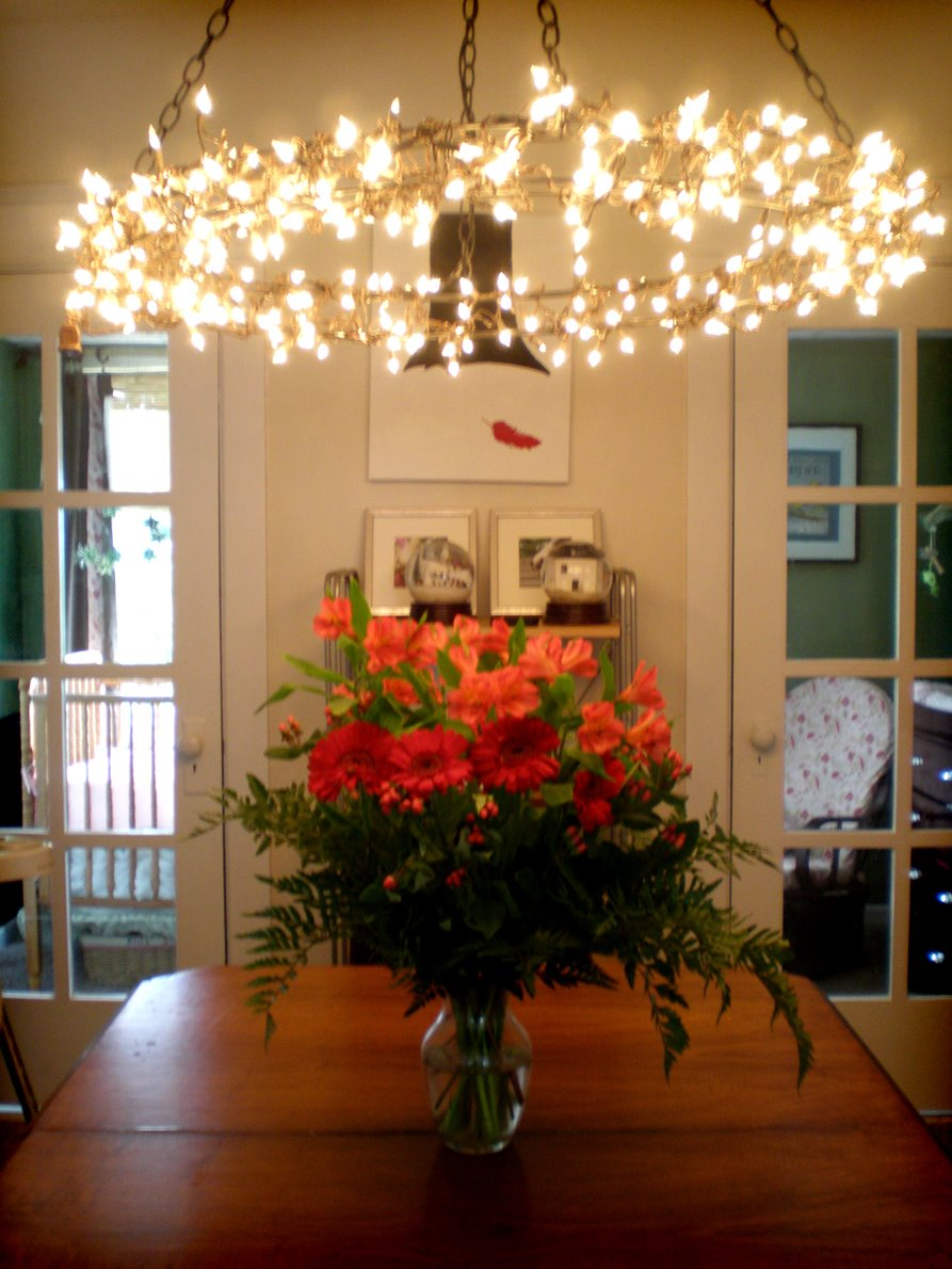 Grosgrain hanging chandelier diy for Pictures to hang in dining room
