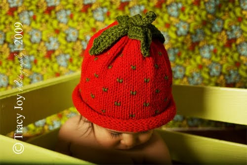 Knitted Baby Hat strawberry